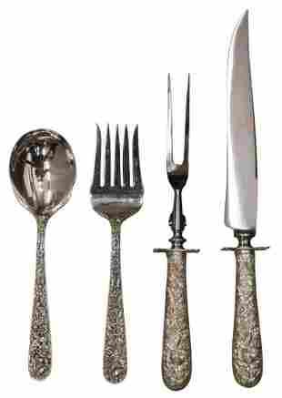 (4) KIRK STERLING REPOUSSE SALAD & CARVING SETS