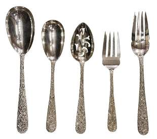 (5) KIRK & SON STERLING REPOUSSE SERVING SPOONS