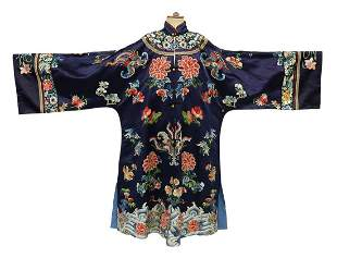 CHINESE EMBROIDERED SILK SATIN SEMI-FORMAL ROBE