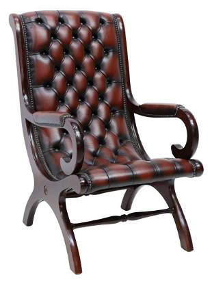 ENGLISH CAMPECHE STYLE BUTTONED LEATHER ARMCHAIR
