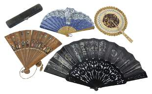 (4) MICRONESIAN & CONTINENTAL LADY'S HAND FANS