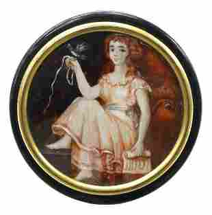 FRENCH TORTOISE SHELL PORTRAIT MINIATURE SNUFF BOX