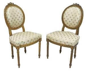 (2) LOUIS XVI STYLE GILTWOOD SCALAMANDRE CHAIRS