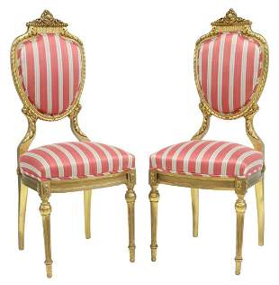 (2) FRENCH LOUIS XVI STYLE GILTWOOD SIDE CHAIRS