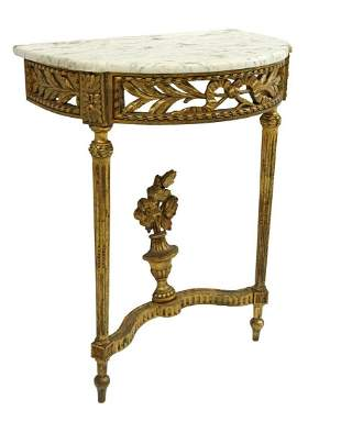 LOUIS XVI STYLE MARBLE-TOP GILTWOOD COSOLE TABLE