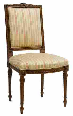 FRENCH LOUIS XVI STYLE SILK UPHOLSTERED SIDE CHAIR