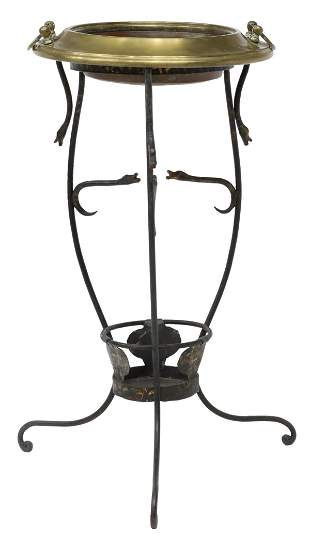 ITALIAN WROUGHT IRON & BRASS PLANTER STAND