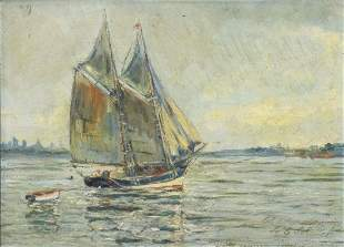 SIGNED SPANISH SCHOOL FISHING BOAT OIL PAINTING