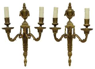 2) FRENCH LOUIS XVI STYLE BRONZE 2-LT WALL SCONCES