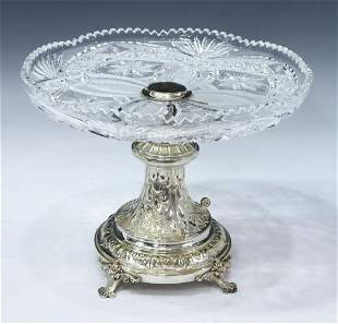 CUT GLASS & SILVER PLATE CENTERPIECE CAKE STAND