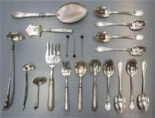 20) FRENCH STERLING, SILVER PLATE & OTHER FLATWARE