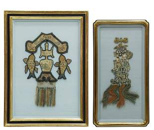 (2) FRAMED CHINESE EMBROIDERED SILK ORNAMENTS