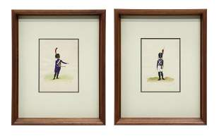 (2) EUGENE NAPOLEONIC SOLDIERS WATERCOLORS