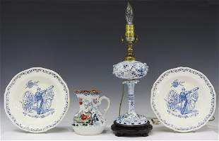 4) MASON PITCHER, MEISSEN STYLE LAMP, FRENCH PLATE
