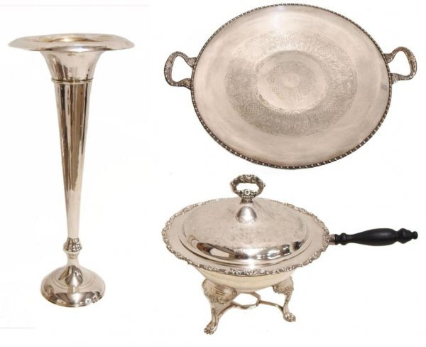 SILVER PLATE CHAFING DISH, TRAY & TRUMPET VASE