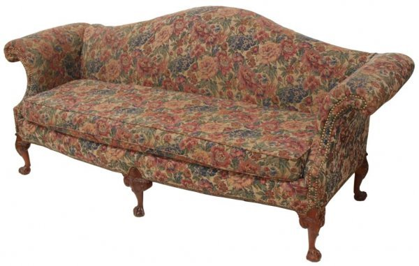 CHIPPENDALE STYLE TAPESTRY CAMEL BACK SOFA