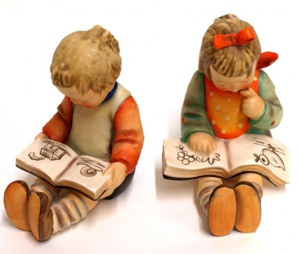 HUMMEL FIGURES: BOOK WORM, BOY & GIRL BOOKENDS