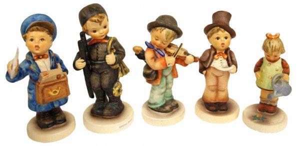 (5) HUMMEL FIGURES: POSTMAN, FIDDLER, SINGER