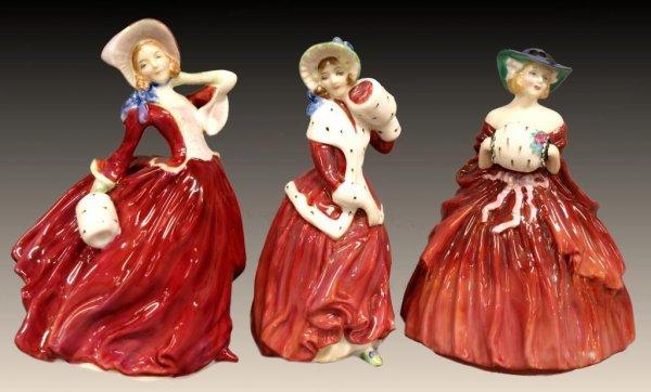 (3) ROYAL DOULTON PORCELAIN LADIES IN RED