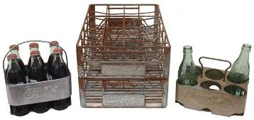 VINTAGE COCACOLA BOTTLE CARRIERS WITH BOTTLES