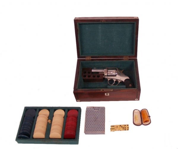 ANTIQUE PISTOL, GAMBLERS TRAVEL BOX, CARDS & CHIPS
