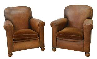 (2) FRENCH ART DECO LEATHER LOW CLUB CHAIRS