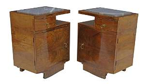 (2) ART DECO MARBLE-TOP FIGURED WALNUT NIGHTSTANDS