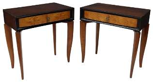 (2) FRENCH ART DECO MIXED WOOD NIGHTSTANDS