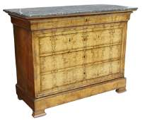 FRENCH LOUIS PHILIPPE MARBLE-TOP BURLWOOD COMMODE
