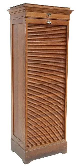 FRENCH OAK TAMBOUR-DOOR FILE CABINET