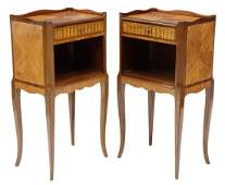 (2) FRENCH LOUIS XV STYLE MAHOGANY NIGHTSTANDS