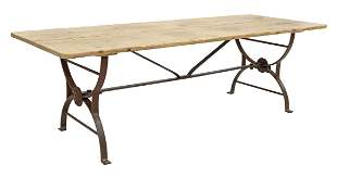 """LARGE PINE & WROUGHT IRON COFFEE TABLE, 62""""L"""