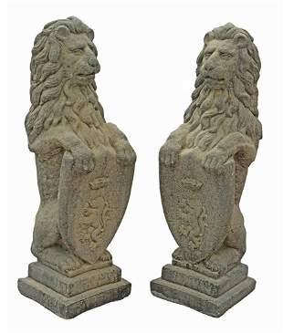 (2) CAST STONE GARDEN STATUARY, HERALDIC LIONS