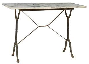 FRENCH PARISIAN MARBLE-TOP CAST IRON BISTRO TABLE