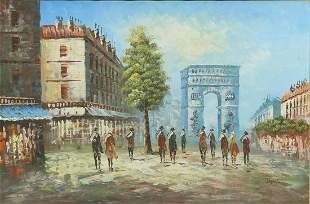 "DECORATIVE PAINTING ARC DE TRIOMPHE, 24"" X 36"""