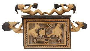 AFRICAN TRIBAL CARVED & PIGMENTED WOOD BOX