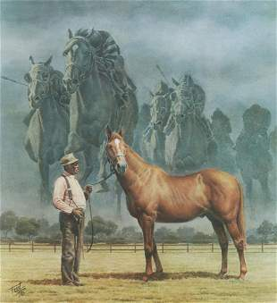 FRED STONE SIGNED MAN O' WAR RACEHORSE PRINT