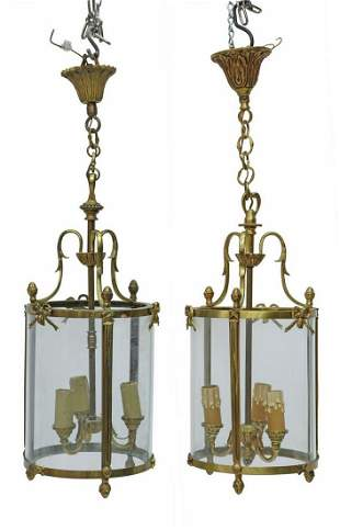 (2) FRENCH BRASS GLASS CYLINDER 3-LIGHT LANTERNS