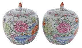 (2) CHINESE FAMILLE ROSE PORCELAIN MELON JARS