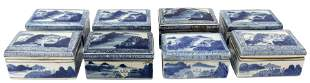 (8) CHINESE BLUE & WHITE PORCELAIN TABLE BOXES