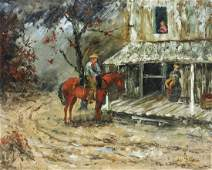 GAYDELL BAINES (1910-2000) WESTERN PAINTING