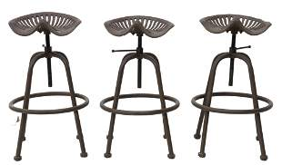 (3) CAST IRON TRACTOR SEAT BAR STOOLS
