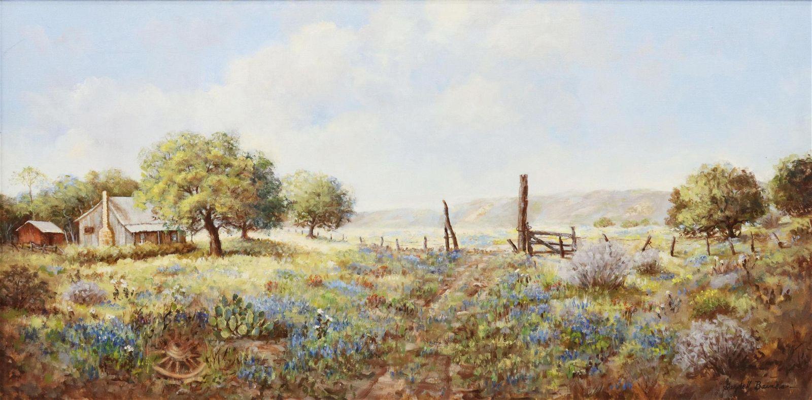 "GAYDELL BAINES (1910-2000) BLUEBONNETS, 24"" X 48"""