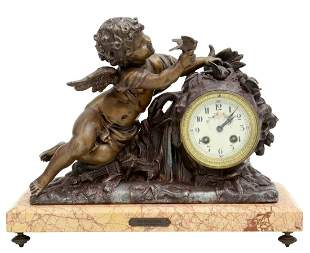 FRENCH LOUIS XV STYLE CUPID MANTEL CLOCK