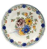 DELFT POLYCHROME FAIENCE PLATE, LATE 18TH C.