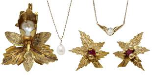 (4) ESTATE 10KT & 14KT YELLOW GOLD, PEARL JEWELRY