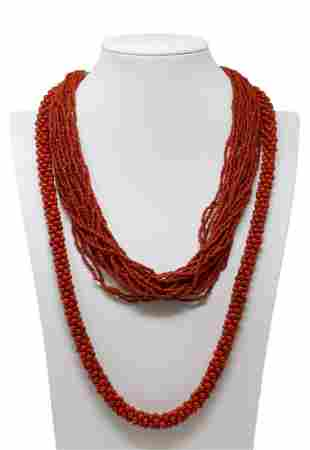 (2) MULTI-STRAND & WOVEN CORAL BEADED NECKLACES