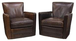(2) CRATE & BARREL LEATHER SWIVEL CLUB CHAIRS