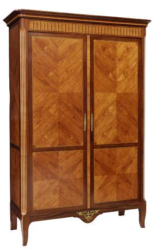FRENCH LOUIS XV STYLE MAHOGANY DOUBLE-DOOR ARMOIRE