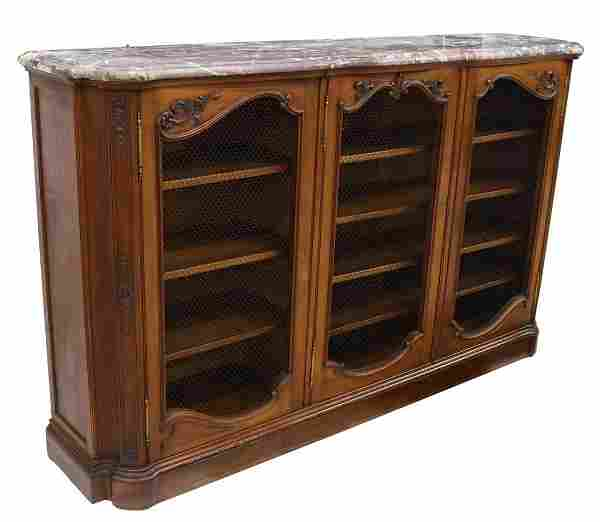 FRENCH MARBLE-TOP WALNUT BOOKCASE